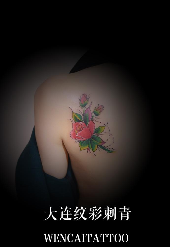 妩媚的萌妹子晓晓后背彩色玫瑰纹身