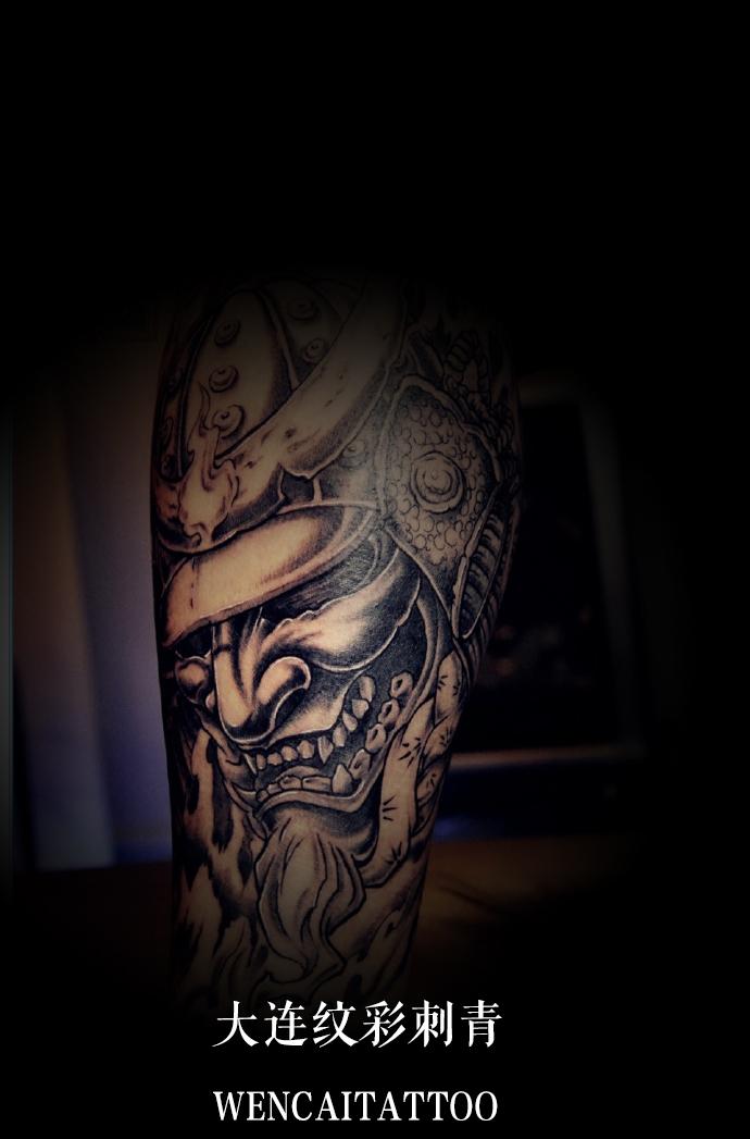 胡先生小腿鬼武士纹身图案图片