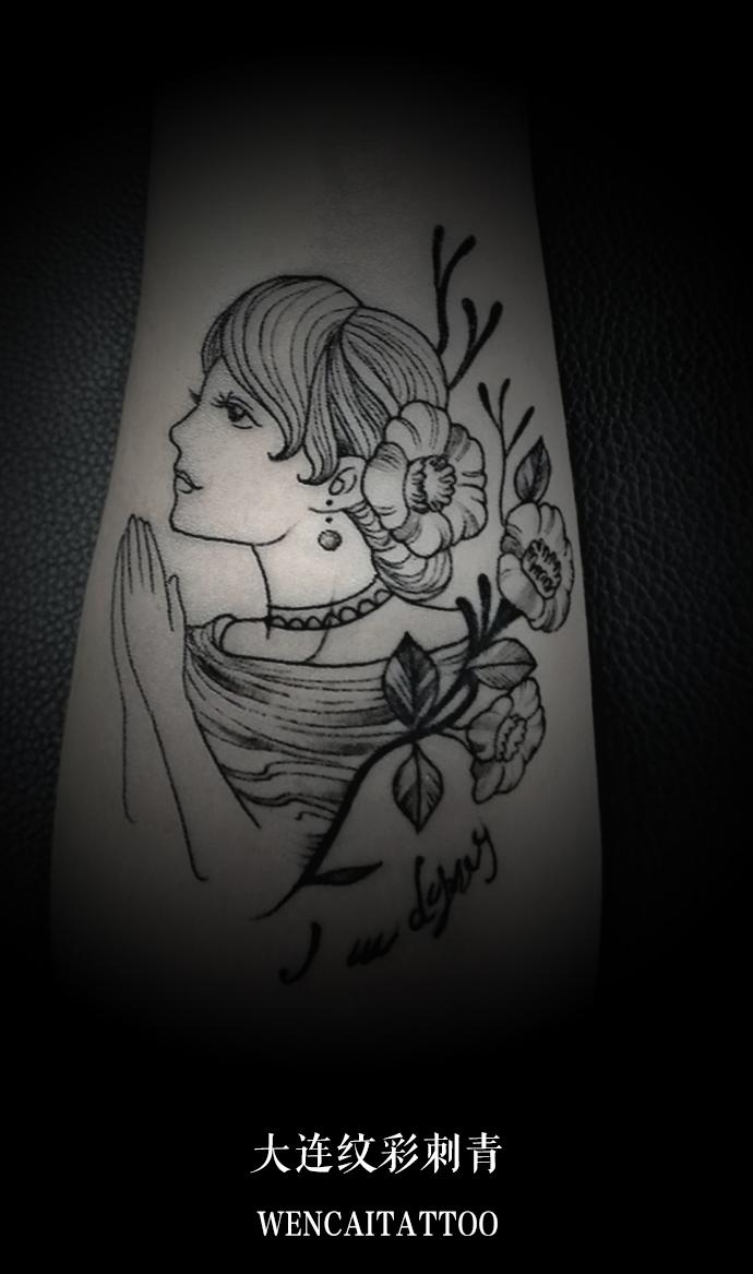 杜小姐的小臂小美人肖像纹身_大连纹身店哪里最好_好.