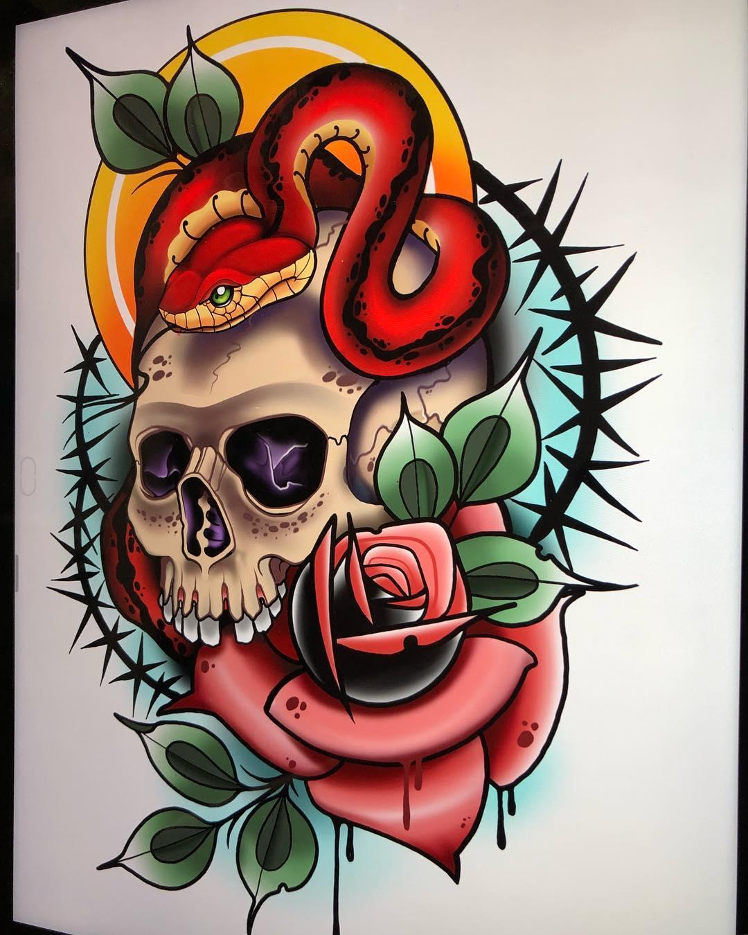 做秘书的蓬先生玫瑰骷髅蛇纹身手稿