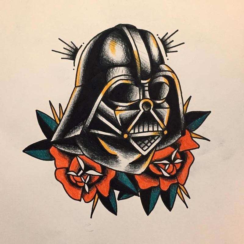 那先生玫瑰黑武士面具纹身手稿图片